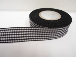 Black 2 metres or full roll x 25mm Gingham Ribbon Double Sided check UK